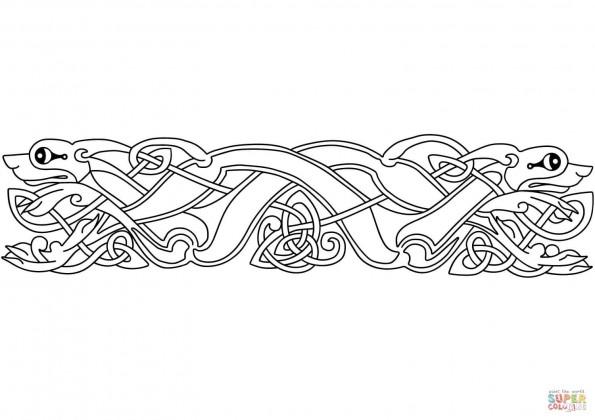 раскраска кельтский анималистический орнамент распечатать
