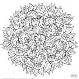 Цветочная абстракция в технике дзентангл