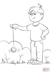 Мальчик играет с йо-йо