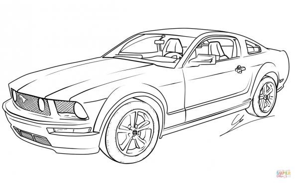 раскраска Ford Mustang Gt распечатать или скачать из