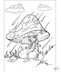 Флип прячется от дождя под грибом