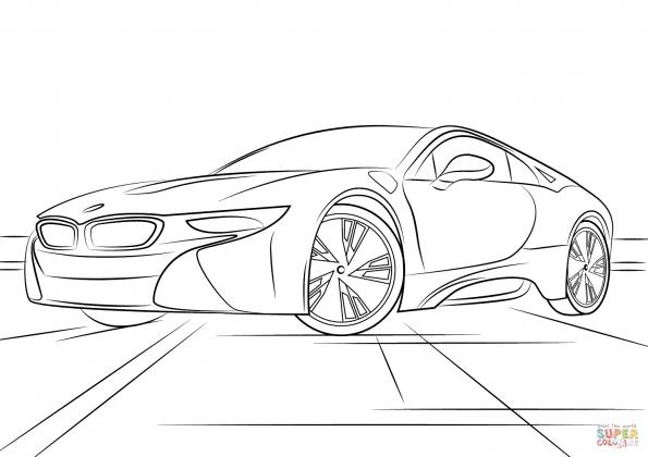 Раскраска BMW i8, распечатать или скачать из категории ...