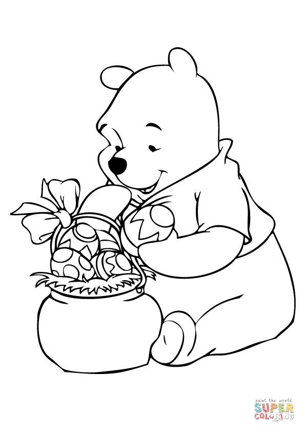 Раскраска Винни Пух с пасхальной корзинкой, распечатать ...