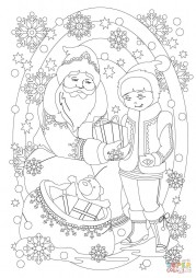 Санта Клаус дарит подарок девочке
