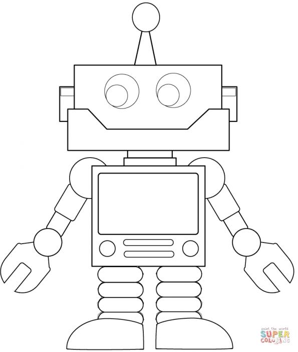 Раскраска Мультяшный робот, распечатать или скачать из ...