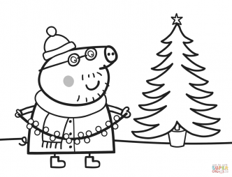 Папа Свин наряжает елку