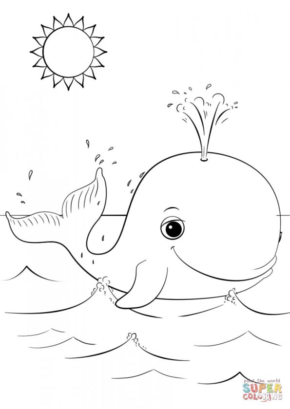 Раскраска Милый мультяшный кит, распечатать или скачать из ...