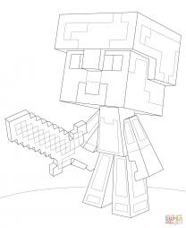 Стив в алмазной броне Майнкрафт