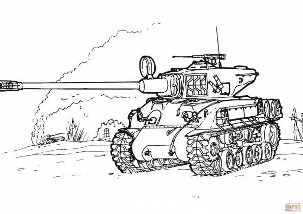 раскраска танк шерман M 51 распечатать или скачать из