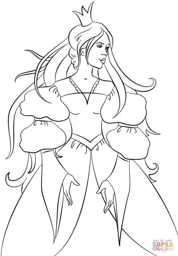 Раскраска Принцесса с короной, распечатать или скачать из ...