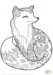 Лисица в технике дзентангл