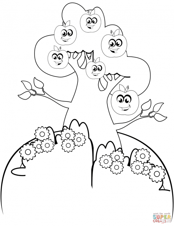 раскраска мультяшная яблоня распечатать или скачать из
