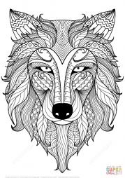 Волк в технике дзентангл