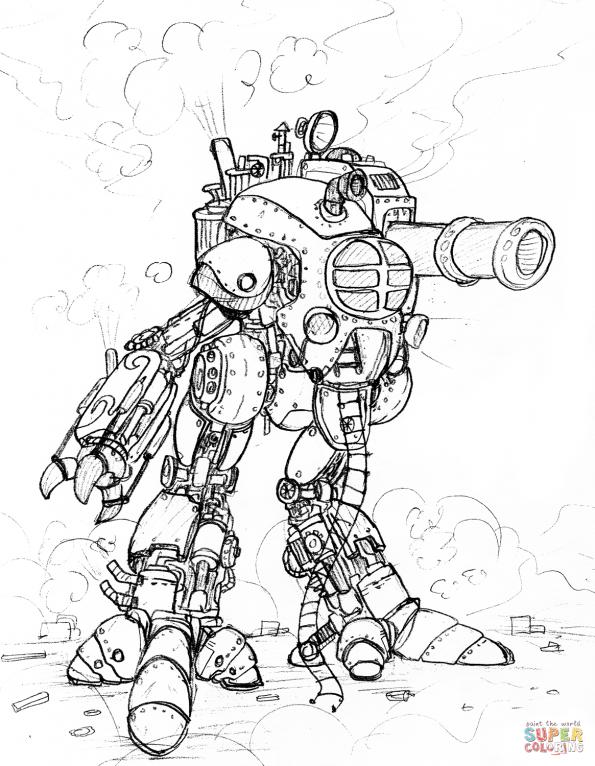 Раскраска Стимпанковский робот-гигант, распечатать или ...