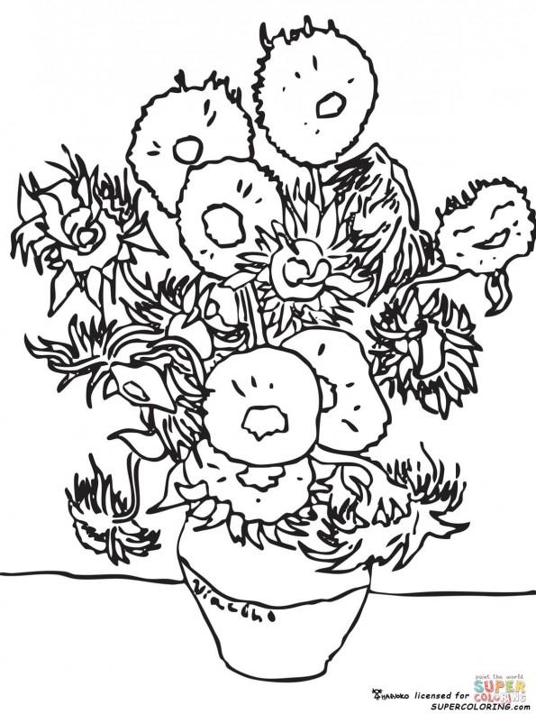 """Раскраска """"Подсолнухи"""". Винсент Ван Гог, распечатать или ..."""