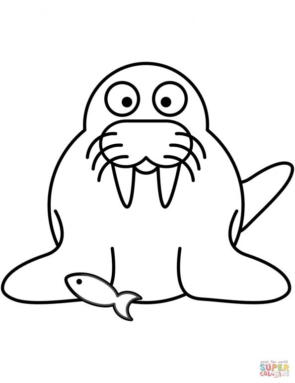 раскраска морж рыбак распечатать или скачать из категории