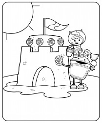 Бот и Гео строят песочный замок