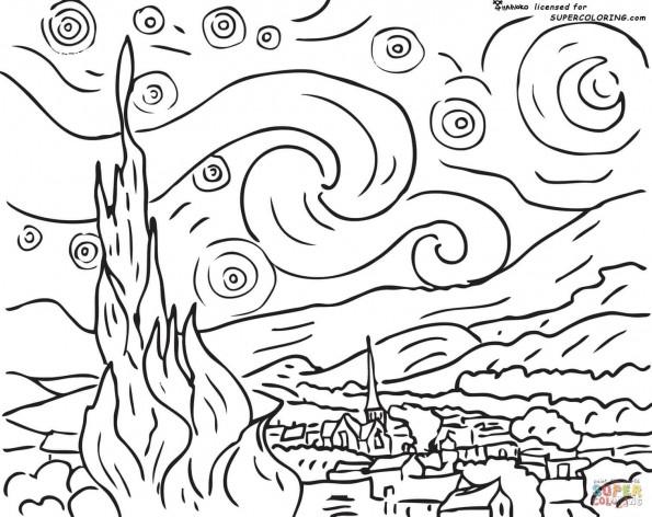 """Раскраска """"Звездная ночь"""". Винсент Ван Гог, распечатать ..."""