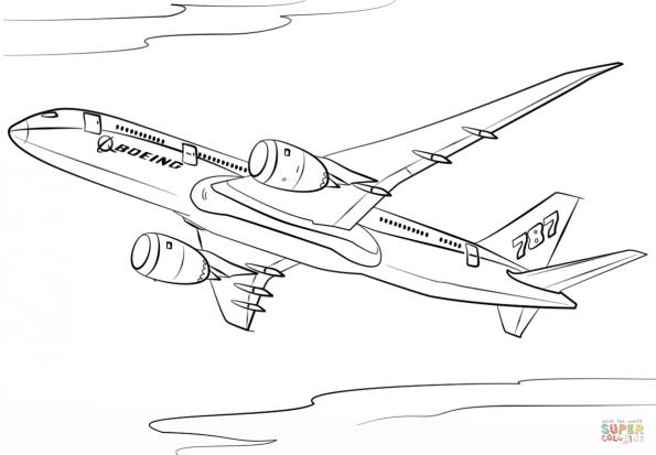 раскраска самолет Boeing 787 Dreamliner распечатать или