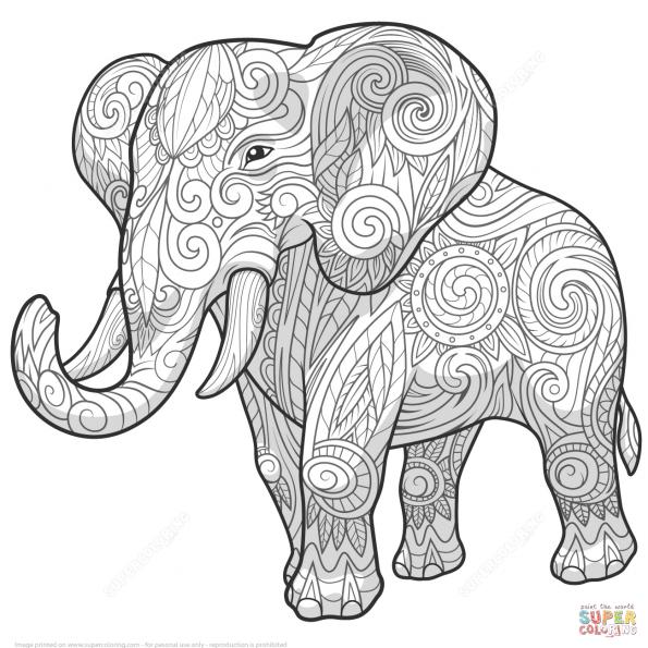 раскраска слон в этно стиле дзентангл распечатать или