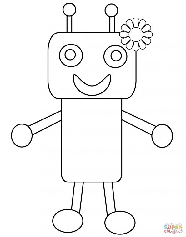 Раскраска Забавный робот с цветочком, распечатать или ...