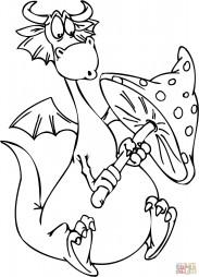 Мультяшный дракон с поганкой