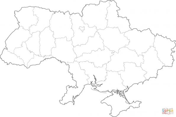 Раскраска Карта Украины, распечатать или скачать из ...