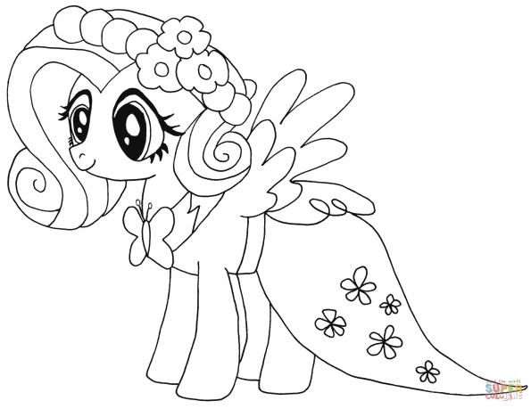 раскраска мой маленький пони флаттершай распечатать или