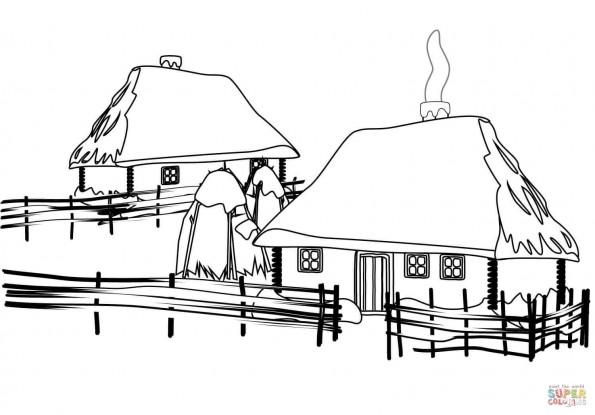 раскраска украинский традиционный дом распечатать или