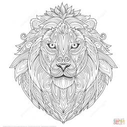 Лев в этно-технике дзентангл