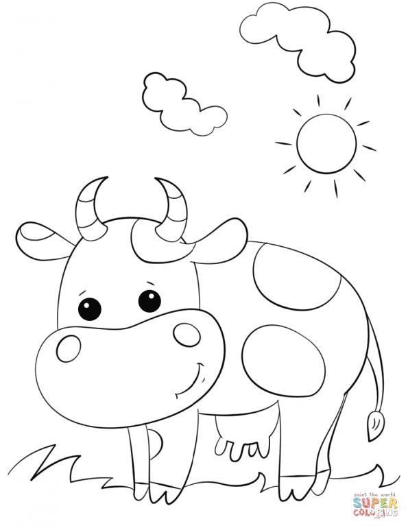 Раскраска Милая мультяшная корова, распечатать или скачать ...