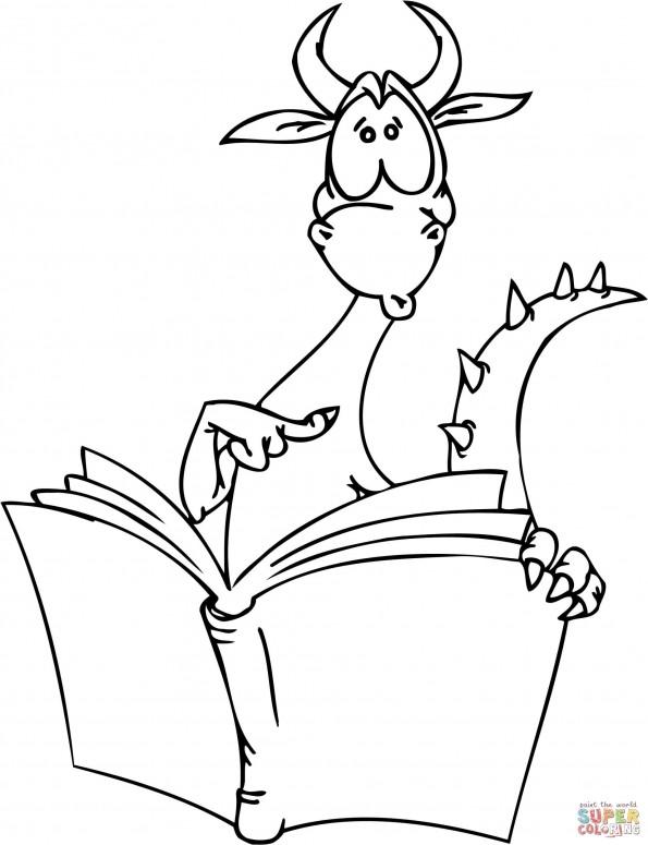 Раскраска Скромный дракон читает книгу, распечатать или ...