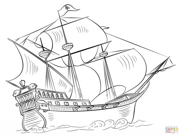раскраска пиратский корабль распечатать или скачать из