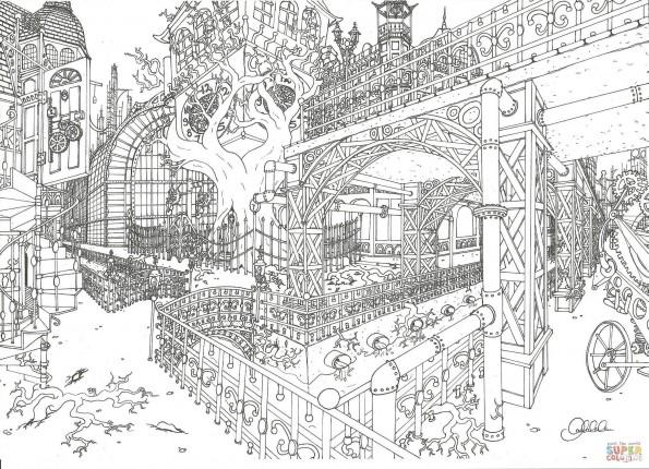 Раскраска Стимпанк-город, распечатать или скачать из ...