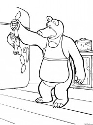 Мишка отбирает сосиски
