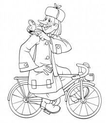 Почтальон Печкин на велосипеде