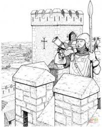 Воин на крепостной стене замка