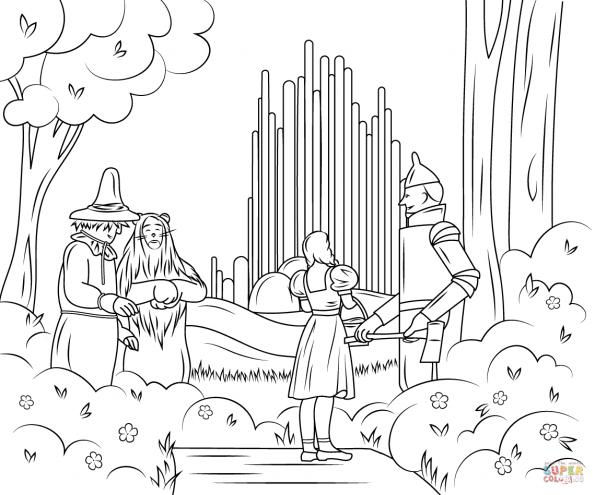 раскраска волшебник изумрудного города распечатать или