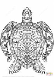 Черепаха в технике дзентангл
