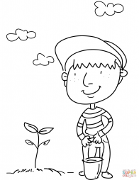 Мальчик посадил дерево