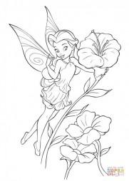Удивленная фея Динь Динь и цветы