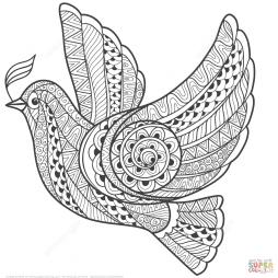 Голубь мира в технике дзентангл