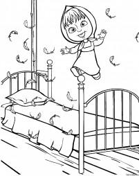 Маша прыгает по кровати