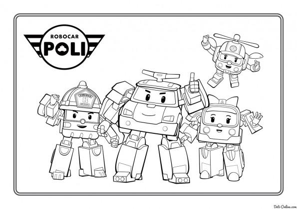 раскраска герои мультфильма робокар поли распечатать или