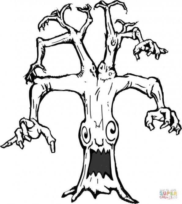 Раскраска Дерево с привидениями, распечатать или скачать ...