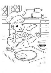 Мальчик печет блины