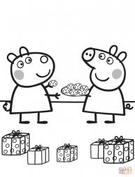 Пеппа угощает Сьюзи печеньем
