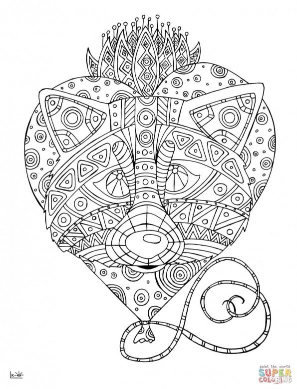 Раскраска Енот в этническом узоре, распечатать или скачать ...