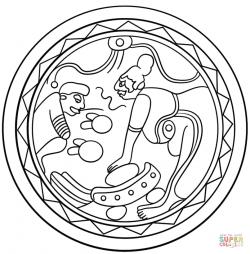 Тарелка с изображением сцены помола бобов