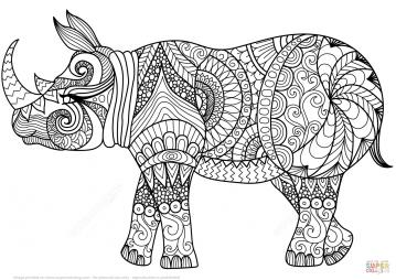 Носорог в технике дзентангл